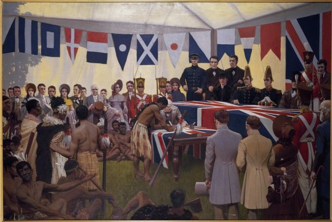 King, Marcus, 1891-1983. King, Marcus, 1891-1983 :[The signing of the Treaty of Waitangi, February 6th, 1840]. 1938.. Ref: G-821-2. Alexander Turnbull Library, Wellington, New Zealand. http://natlib.govt.nz/records/22308135
