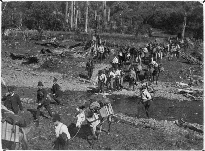 Police approaching Maungapohatu, to arrest Rua Kenana. Ref: 1/2-028071-F. Alexander Turnbull Library, Wellington, New Zealand. http://natlib.govt.nz/records/22835478