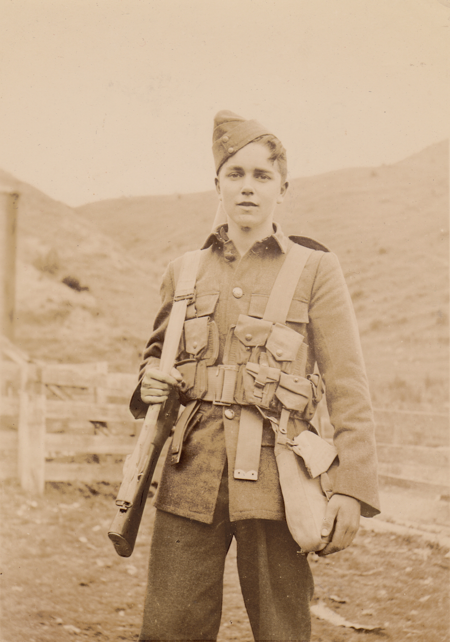 Braithwaite, a young member of No. 12 Platoon, Makara Battalion, New Zealand Home Guard, 1942.