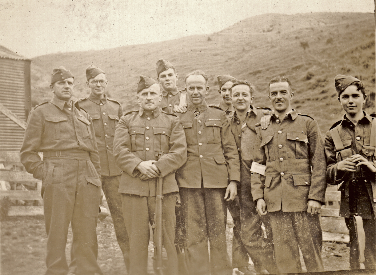 No. 12 Platoon, Makara Battalion, New Zealand Home Guard at Makara, 1942. If the Japanese had invaded then these were the men that would've defended Wellington. Lemuel Lyes Collection.