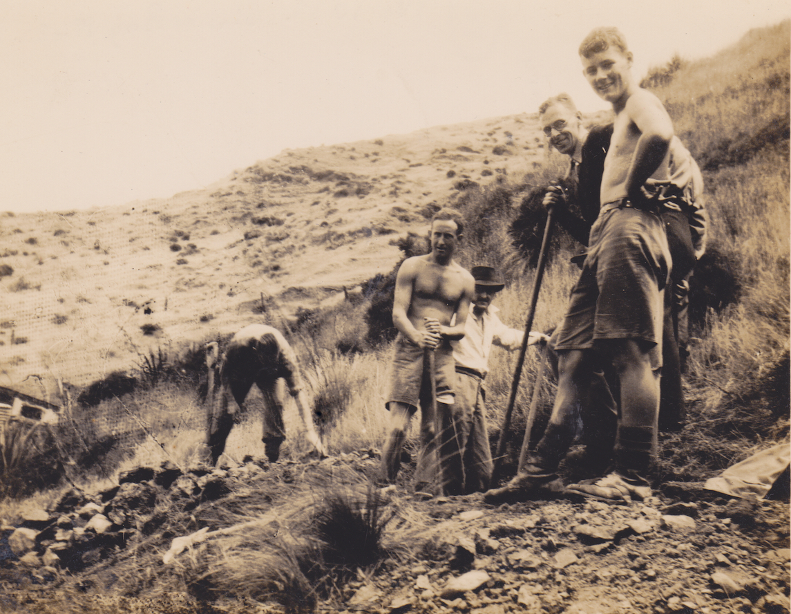 Members of No. 10 Platoon, Makara Battalion, New Zealand Home Guard, hard at work digging defensive positions at Makara Beach in 1942. From L to R, they are McDermott, Sheilds, Brawn, Pike, Bell-Harry and Thompson.