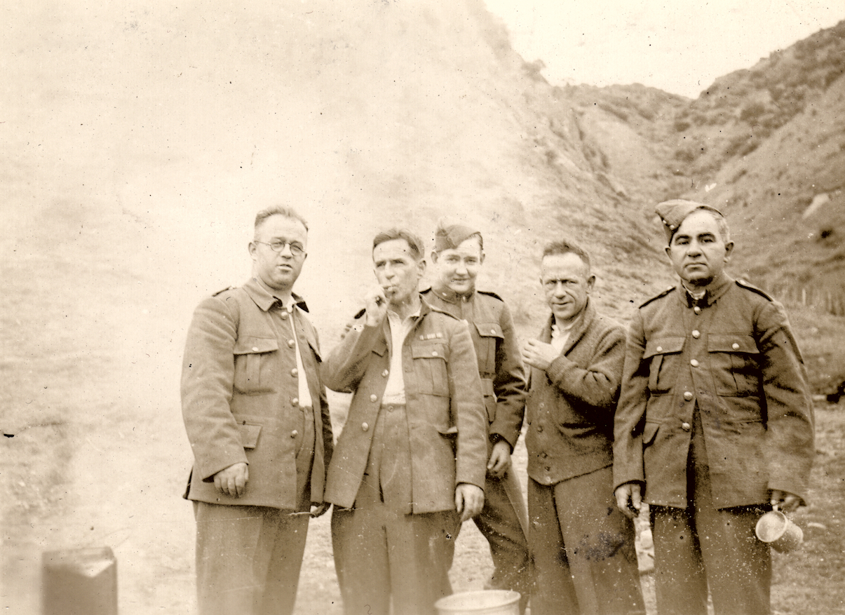 An overexposed photo of the cooks of C Company, Makara Battalion, New Zealand Home Guard, at Makara, 1942. They are L to R, Bryce, Casper, Kelly, Stewart and Cher(?). Lemuel Lyes Collection.