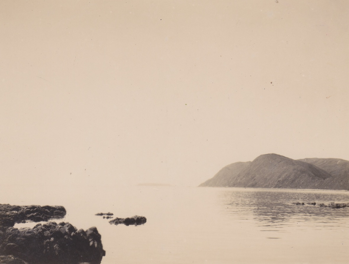 View looking north from Fisherman's Bay, Makara in 1942. A time when the Japanese threatened to arrive over the horizon. Taken by a member of the Makara Home Guard. Lemuel Lyes Collection.